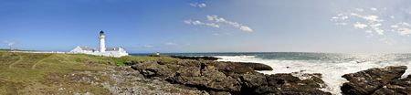 isles: Stitched Panorama of Langness Peninsula with Lighthouse on the Isle of Man Stock Photo