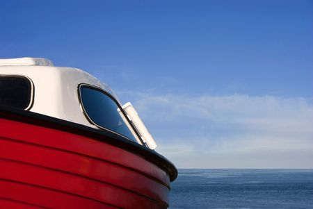 Detail of a Small Red boat with Sea and Sky in the Background Stock Photo - 8107916