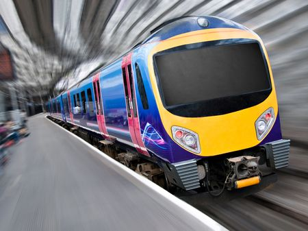 diesel train: Fast Modern Passenger Train with Motion Radial Zoom Blur Stock Photo