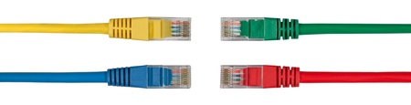 isdn: Four Multi Colored Network Cables Facing Each Other Stock Photo