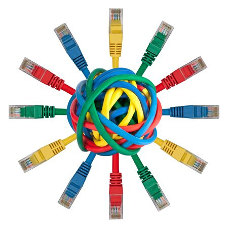 Ball of colored cables with network plugs pointing in every direction Stock Photo - 8333692