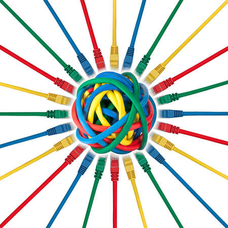 Network connection cables plugs connected to a ball of colored cables isolated on white background photo