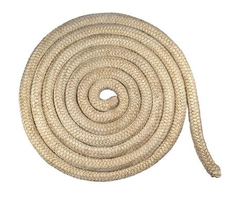bobina: Antiguo cuerda n�utica - espiral de cuerda gruesa de un viejo barco aislado en fondo blanco