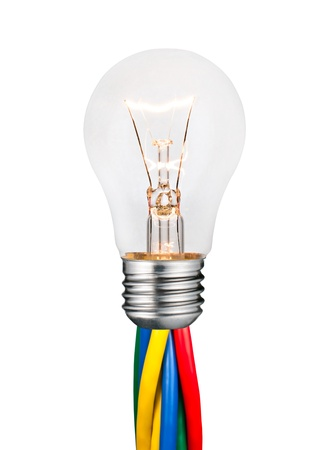 switched: Glowing Lightbulb Attached to Colored Cables Isolated on White Background. Ordinary Switched On Screw Lightbulb Over White