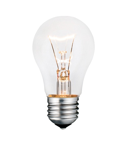 Idea and Solution - Glowing Lightbulb Isolated on White Background. Photo of Ordinary Switched On Lightbulb Over White photo