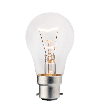 switched: Glowing Lightbulb with Bayonet fitting Isolated on White Background. Photo of Ordinary Switched On Lightbulb Over White