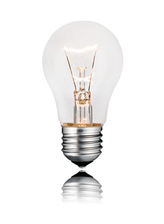 switched: Bright Ideas - Glowing Ligthbulb with Reflection Isolated on White Background. Photo of Ordinary Switched On Lightbulb Over White Stock Photo