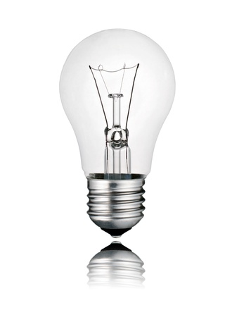 switched: Perfect Lighbulb - Ligthbulb with Reflection Isolated on White Background. Photo of Ordinary Switched Off Screw Lightbulb Over White Stock Photo