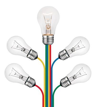 Bright New Ideas Concept -Lightbulbs attached to the tree of lines of colored cables isolated on white background