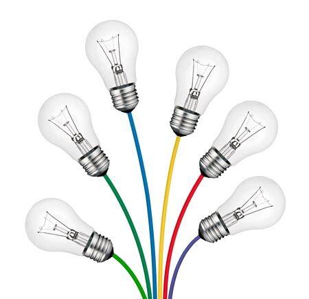 Bouquet of Lighbulbs attached to multi colored cables isolated on white background. New Bright Ideas photo