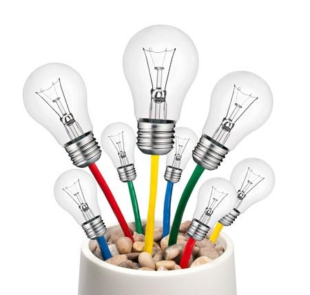 color image creativity: Alternativa nuevas Ideas - bombillas con creciente en un bote de Cables aislados sobre fondo blanco