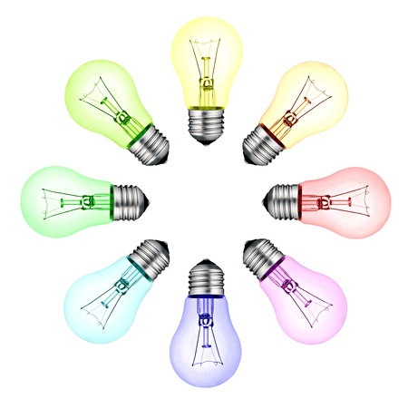 Creative New Ideas - Circle of Colored Lightbulbs Isolated on White Background photo