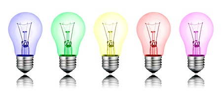 Different New Ideas - Row of Colored Lightbulbs Isolated on White Background photo