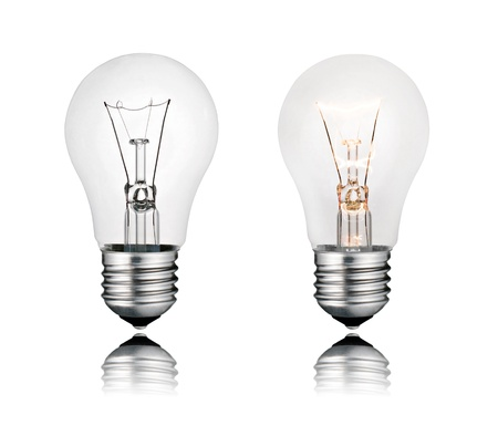 Perfect Two Lightbulbs On and Off with Reflection Isolated on White Background photo