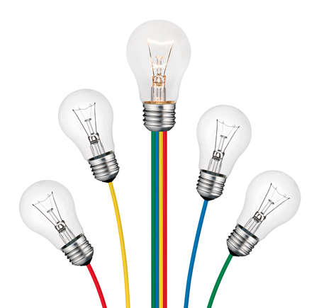 Different Bright New Ideas Concept -Lightbulbs attached to lines of colored cables isolated on white background Stock Photo - 8873338
