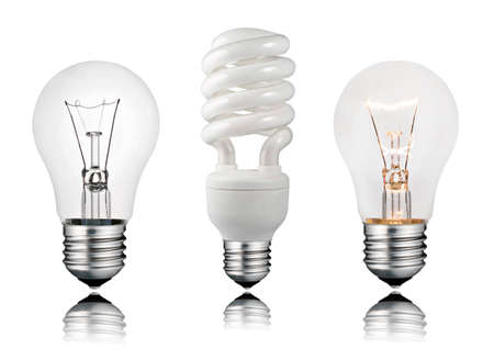fluorescent lamp: Two Normal and One Saver Lightbulbs with Reflection Isolated on White Background Stock Photo