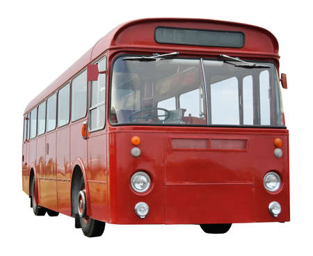 old english: Old Red English Bus Isolated on White Background