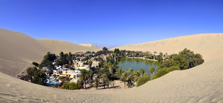 Stitched Panorama of Beautiful Huacachina Oasis surrounded by sand dunes near Ica Peru