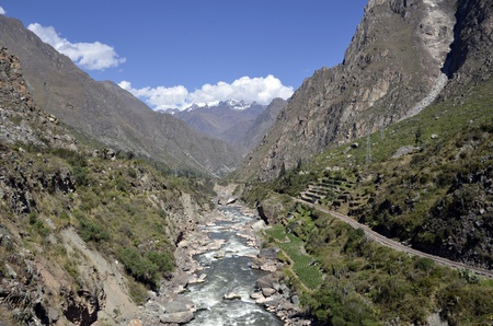 sacred valley: Wild Urubamba river flowing through valley with high snow capped mountains and blue sky in the background
