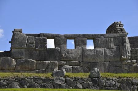 Ancien Temple Inca Machu Picchu avec le ciel bleu en arrière-plan Banque d'images - 10869525