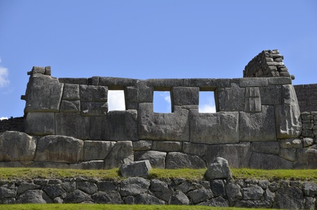 Ancient Inca Temple on Machu Picchu with Blue Sky in the Background