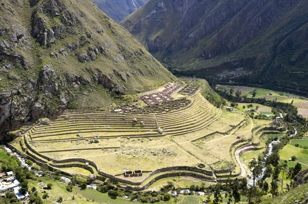 cuzco: Ancient Llactapata Inca Ruins on the Inca Trail situated at the bottom of Urubamba valley with river