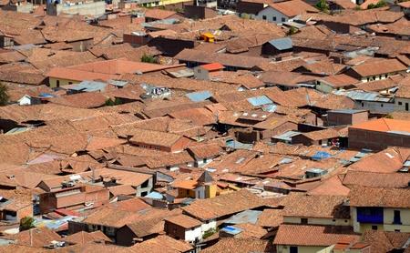 slum: View of Roof Tops of Shanty Town in Cuzco. Aerial View of Slum in Cuzco Peru