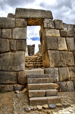cuzco: Gate at Sacsayhuaman Ruins with Stairs- HDR effect Stock Photo