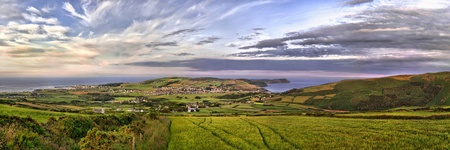 HDR Panorama of South of the Isle of Man with Port st. Mary, Calf of Man and Port Erin photo