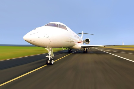 Private Jet Plane with Motion   Radial Blur Stock Photo