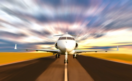 private plane: Front of Private Jet Plane Taking off with Motion   Radial  Blur  Sunset Scene Stock Photo