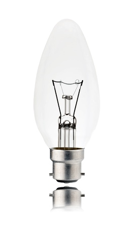 Lightbulb - Bayonet Candle Shaped with Reflection Isolated on White Background. Switched off photo