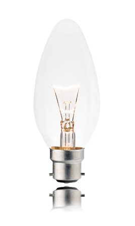 Switched On Lightbulb - Bayonet Candle Shaped  Isolated on White Background with Reflection photo