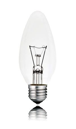 Lightbulb - Candle Shaped with Screw bottom and Reflection Isolated on White Background. Switched off photo