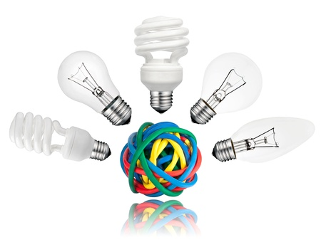 Solution - Vaus Lightbulbs above ball of colored cables with reflection isolated on white background. Golf ball, candle, normal and saver type lightbulbs Stock Photo - 13241125