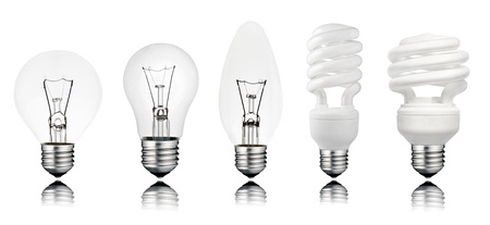 Five Lightbuls with Reflection Isolated on White. Golf Ball, Normal, Candle type and two Saver Light Bulbs photo