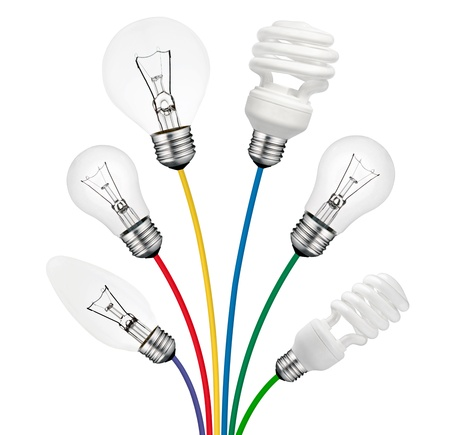 think different: Ideas - Various Lightbulbs attached to colored cables isolated on white background. Golf Ball, Candle, Normal and Saver type Lightbulbs. Stock Photo