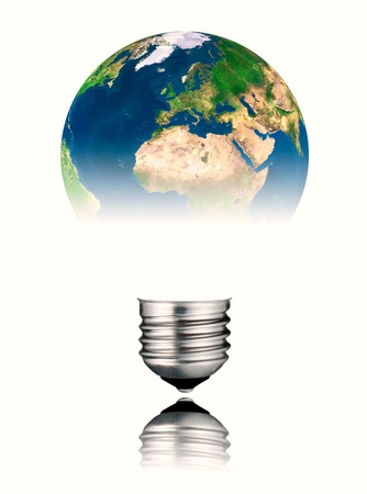 Lightbulb in the Shape of the  World - Europe, Africa and Asia. Screw Round Bulb with Reflection Isolated on White Background photo