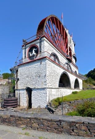 isle: The Great Laxey Wheel front view on a sunny day - Isle of Man