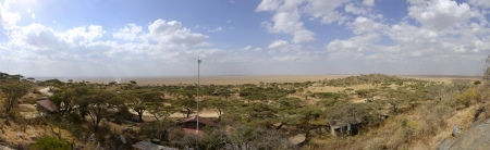 Panorama of African Savannah in Serengeti National Park photo