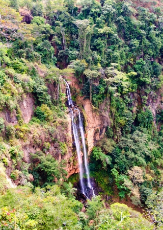 malawi: Manchewe Falls viewpoint -Long waterfall in a jungle near Livingstonia in Malawi - Africa Stock Photo