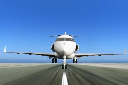 Avant de jet privé Décollage avec Motion Flou radial Banque d'images - 18180028