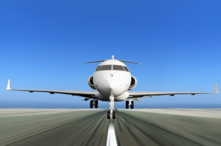 runway: Front of Private Jet Plane Taking off with Motion Radial  Blur Stock Photo