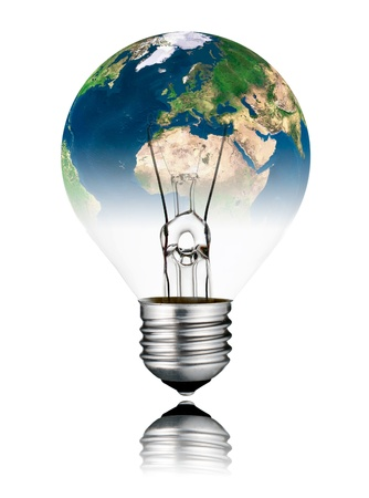 Switched OFF Lightbulb in the Shape of the  World - Europe, Africa and Asia continent. Screw Round Bulb with Reflection Isolated on White Background photo