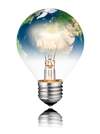 Switched ON Lightbulb in the Shape of the  World - Europe, Africa and Asia. Screw Round Bulb with Reflection Isolated on White Background photo
