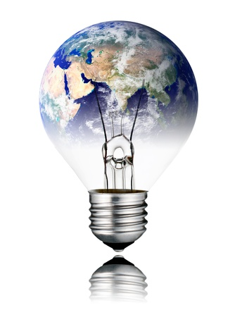 switched: Switched OFF Lightbulb in the Shape of the World with Asia continent. Screw Round Bulb with Reflection Isolated on White Background