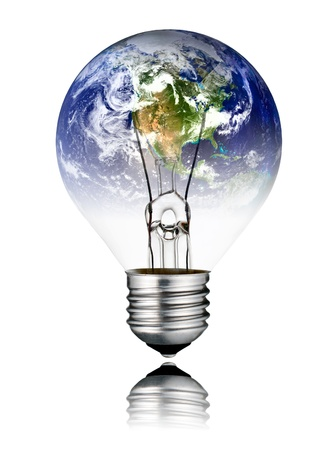 switched: Switched OFF Lightbulb in the Shape of the  World - North America, USA, Canada, Mexico. Screw Round Bulb with Reflection Isolated on White Background Stock Photo