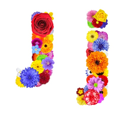 Letter J of Flower Alphabet Isolated on White. Letter consist of many colorful and original flowers photo
