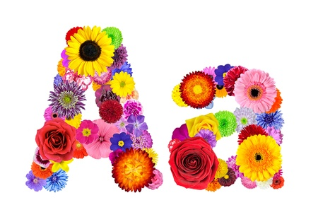 Letter A of Flower Alphabet Isolated on White. Letter consist of many colorful and original flowers photo