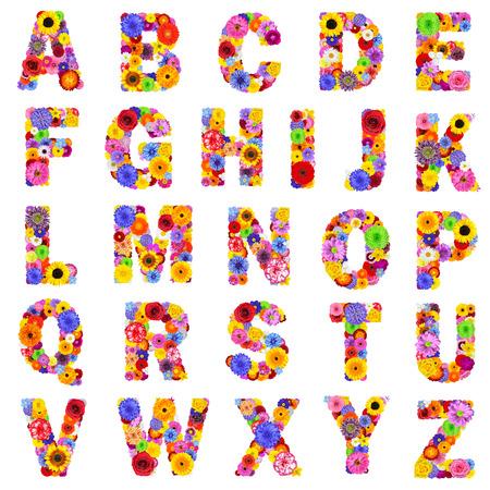 Vol bloemen alfabet geïsoleerd op een witte achtergrond. Letters van A tot Z gemaakt van vele kleurrijke en originele bloemen